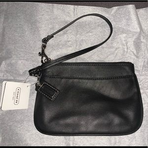 Small black Coach leather wristlet